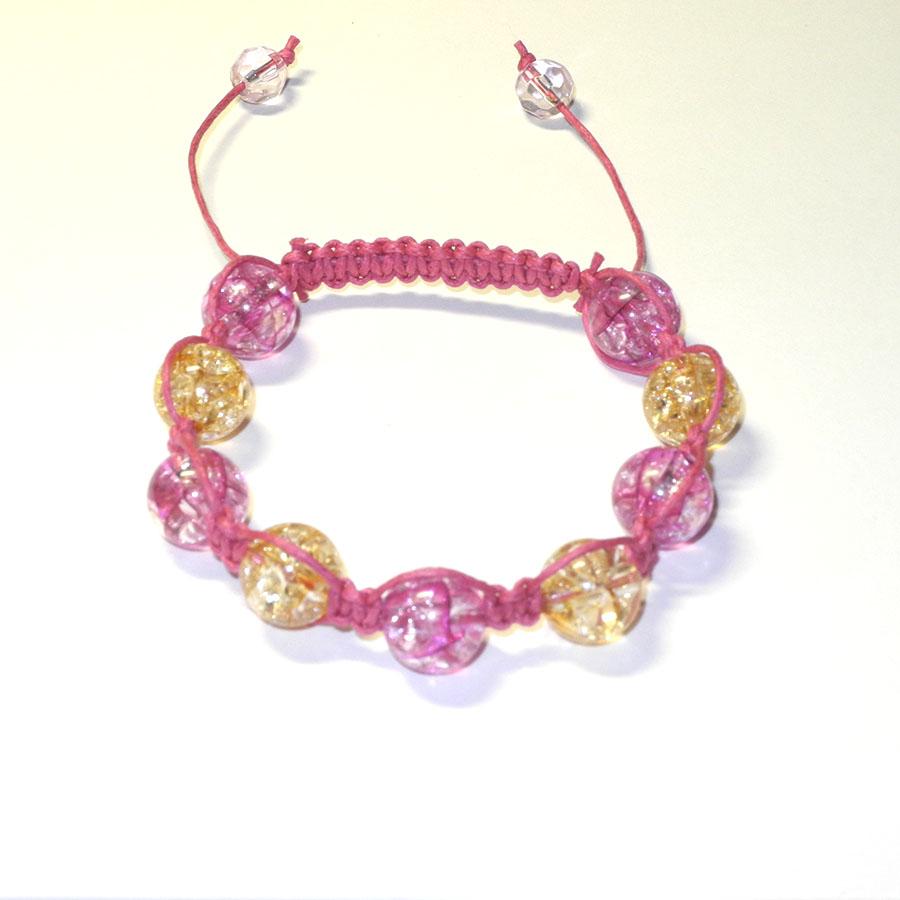 b9c6bf71f Shamballa náramek, růžové a žluté korálky